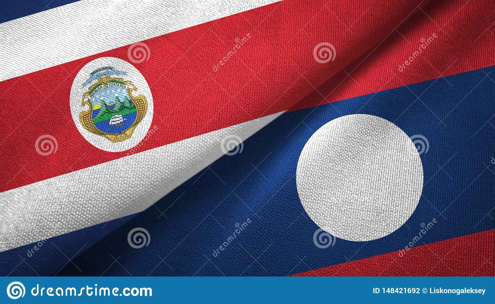 Costa Rica and Laos two flags textile cloth.