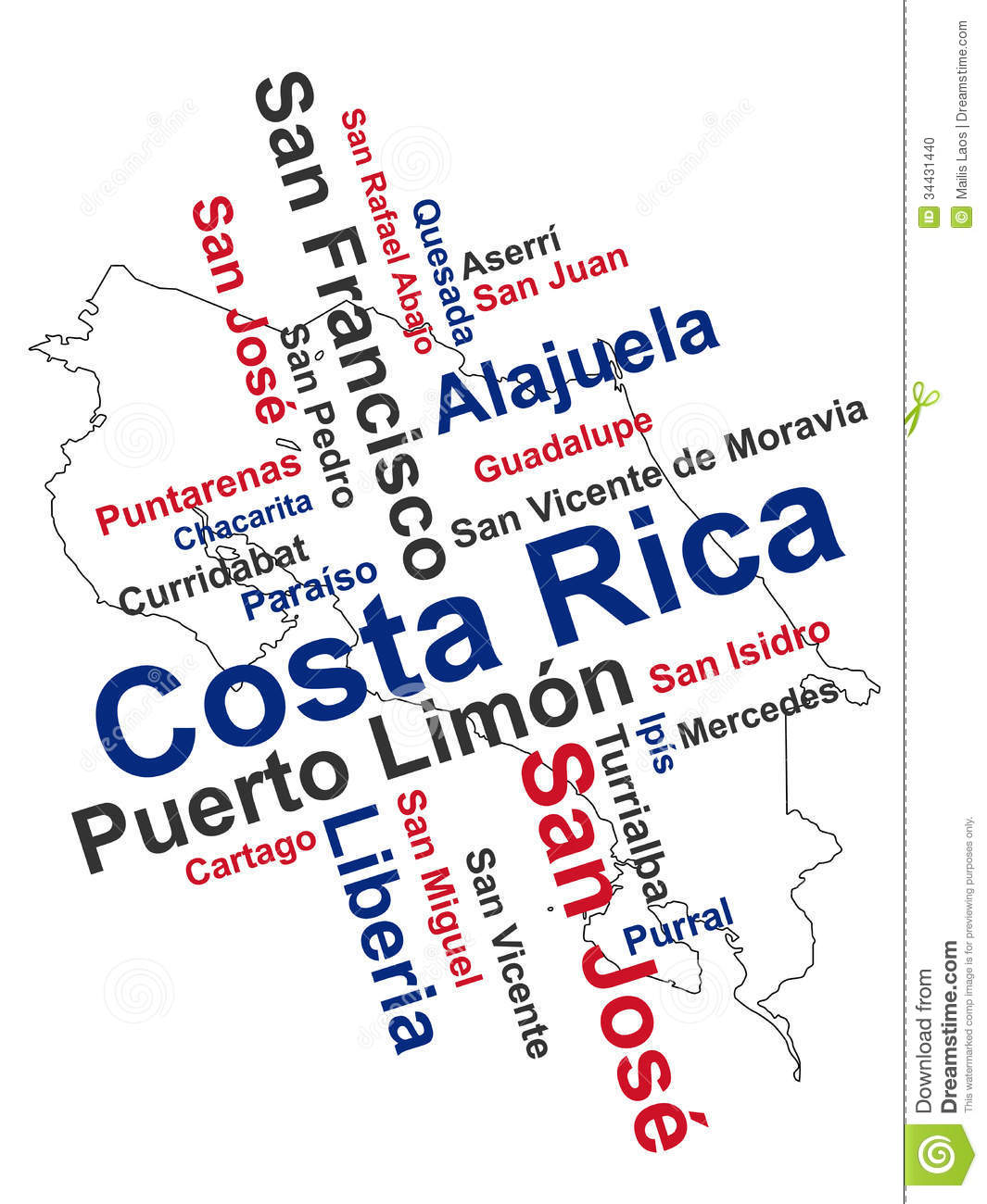 Costa Rica Map and Cities stock vector. Illustration of keywords ...