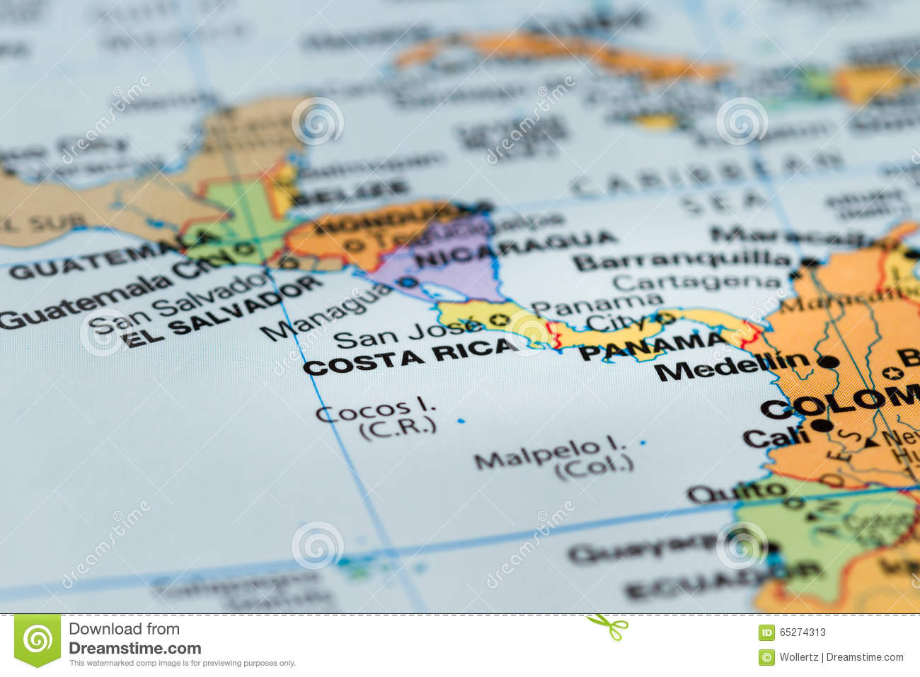 Costa Rica On A Map Stock Photo Image - Map of costa rica central america