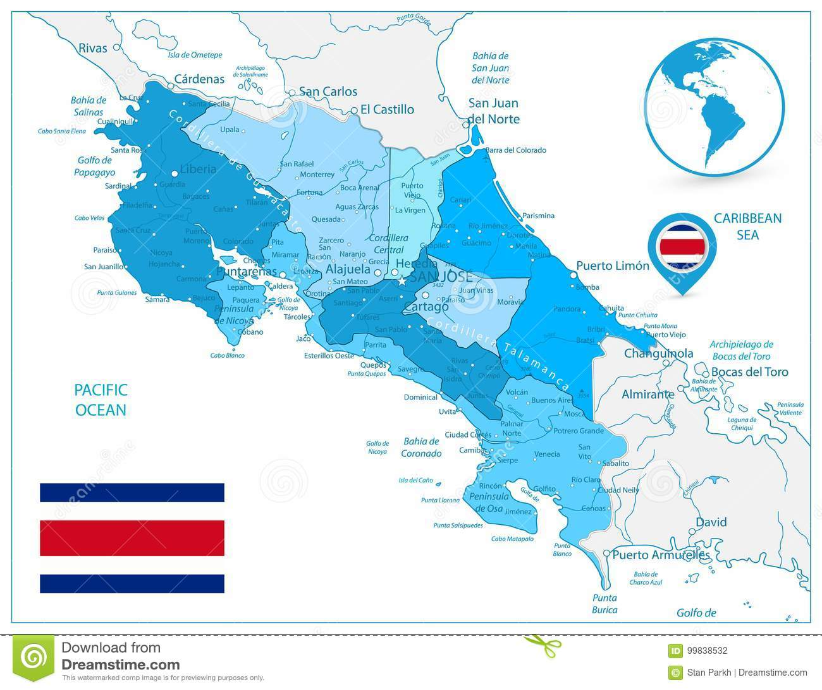 Costa Rica Map In Colors Of blått