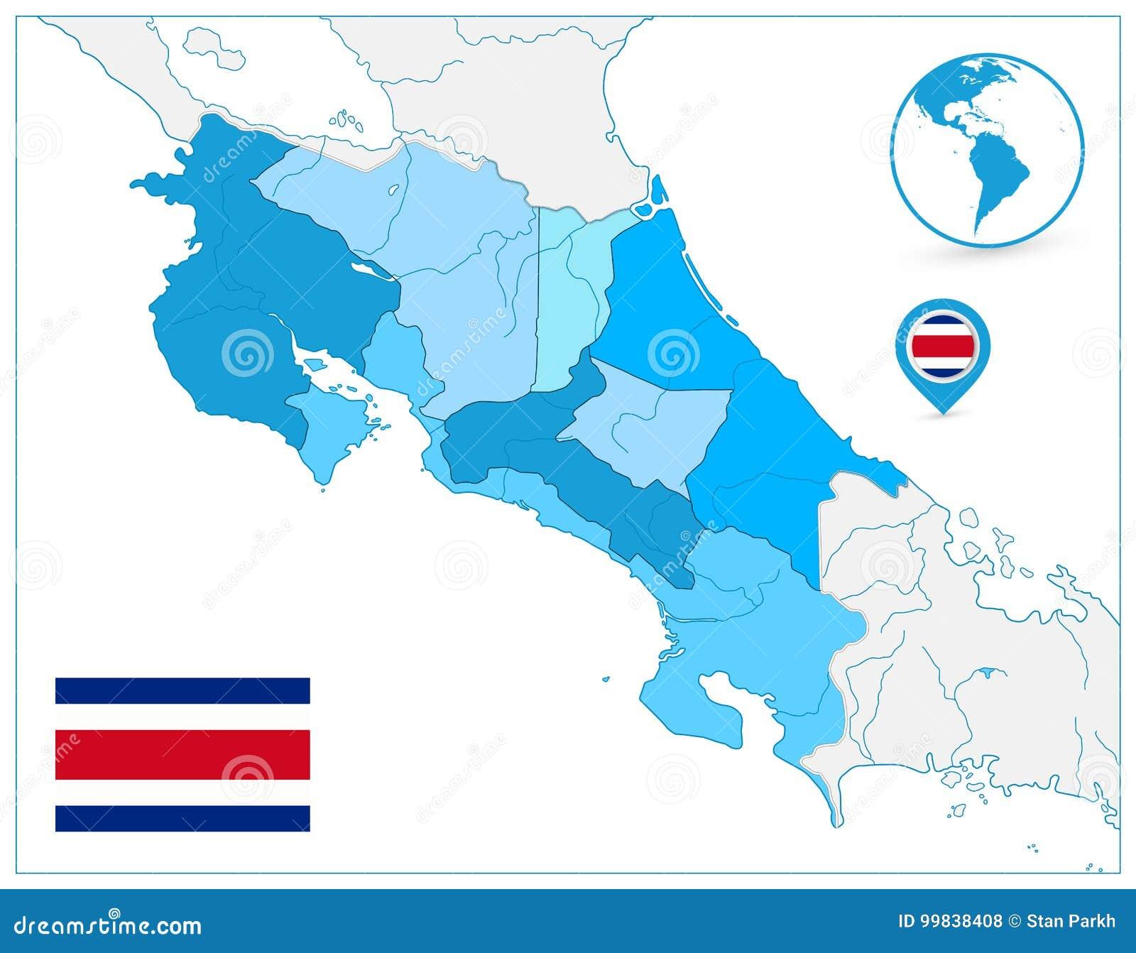 Costa Rica Map In Colors Of blått ingen text