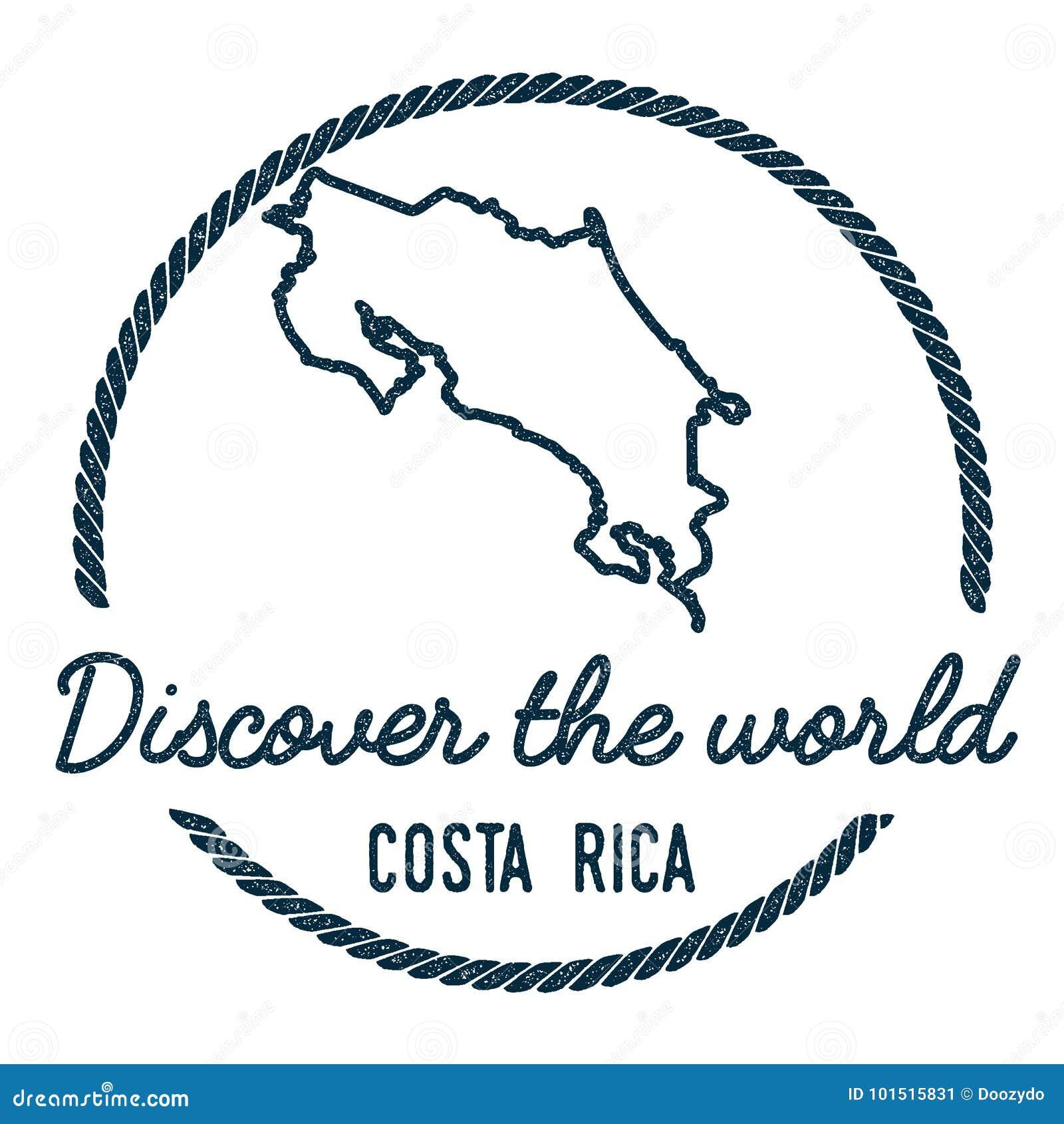 Costa Rica Map Outline El vintage descubre