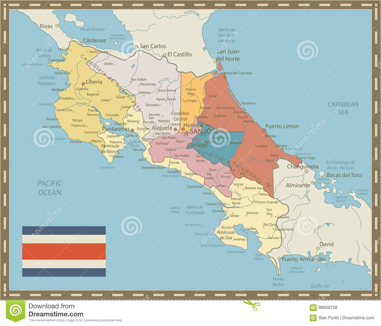 Costa Rica Map Vintage Colors