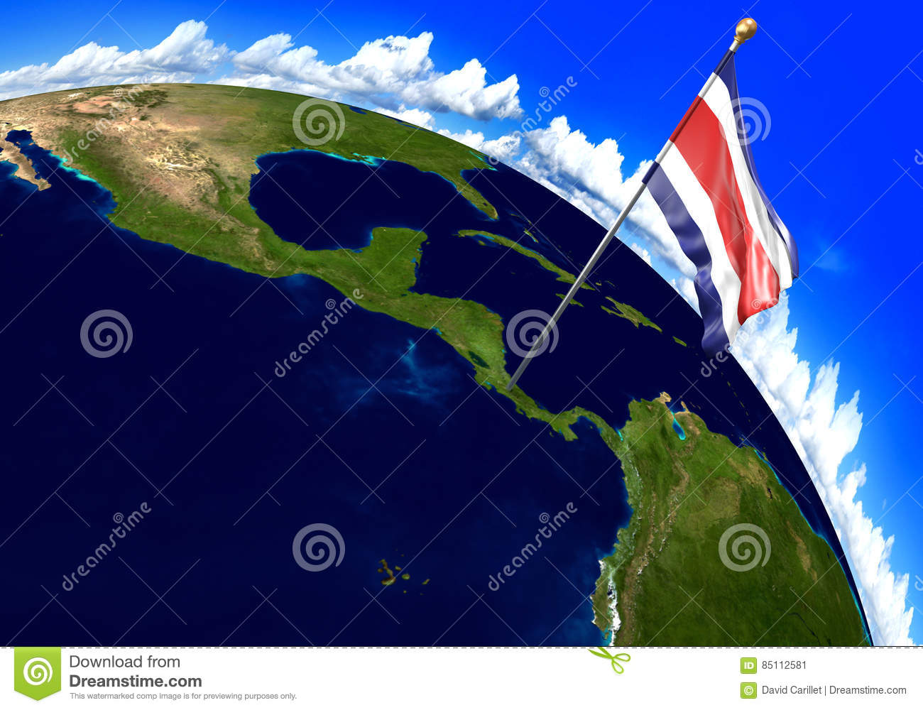 Image of: Costa Rica National Flag Marking The Country Location On World Map 3d Rendering Parts Of This Image Furnished By Nasa Stock Illustration Illustration Of National Planet 85112581