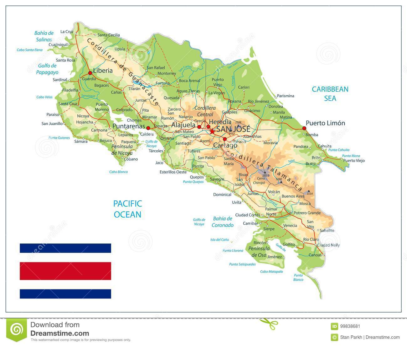 Costa Rica Physical Map Isolated On White Stock Vector ...