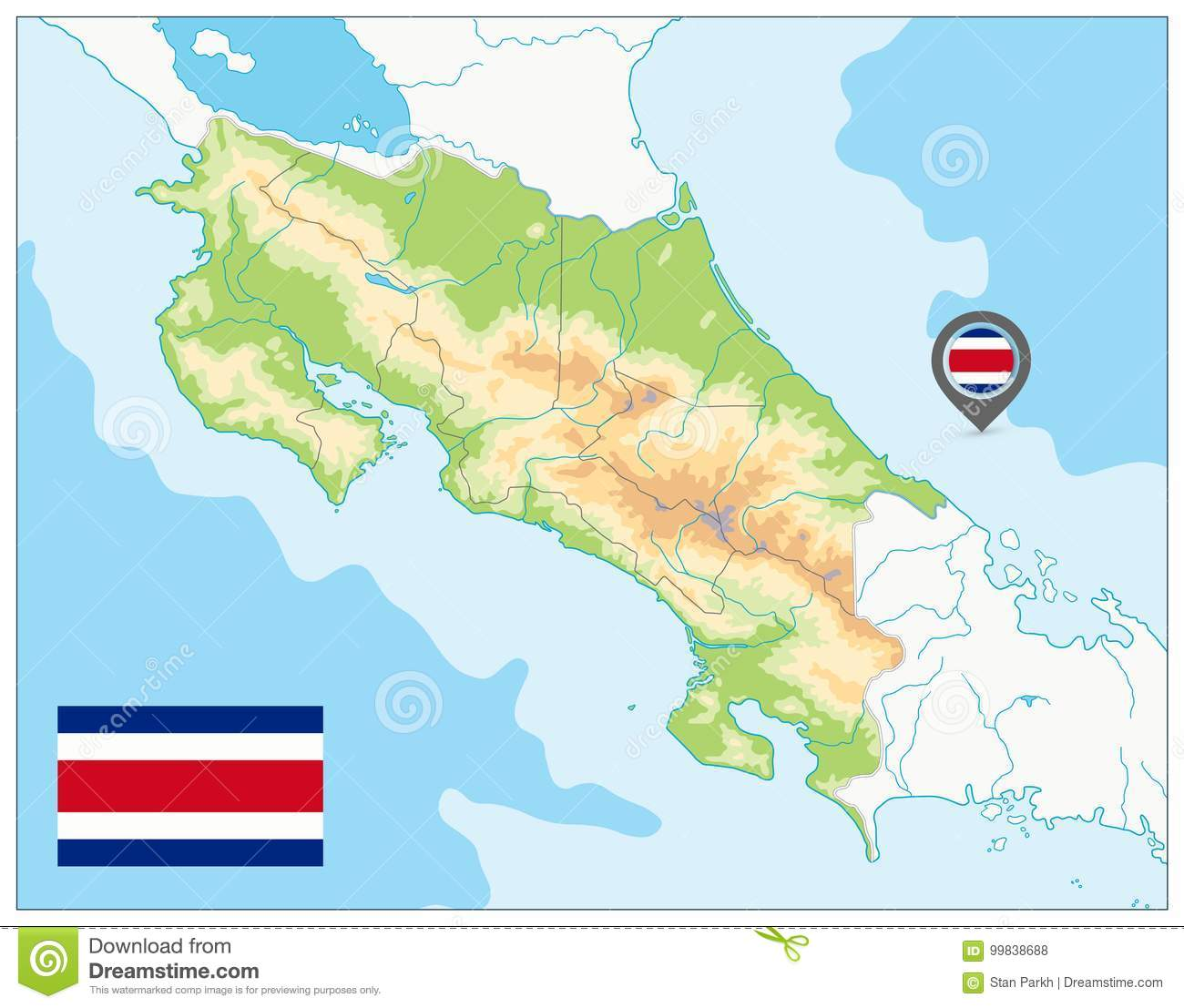 Costa Rica Physical Map. No Text Stock Vector - Illustration of ...