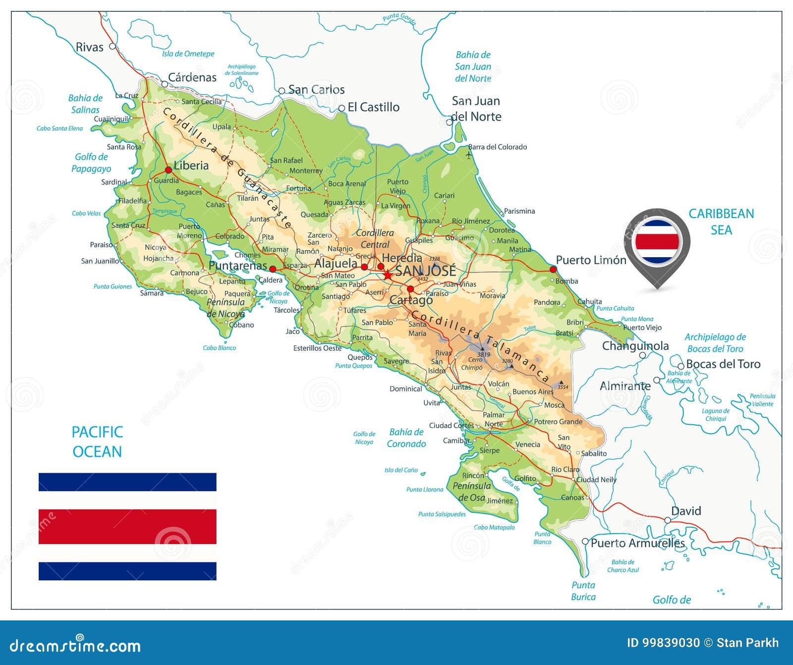 Costa Rica Physical Map På white