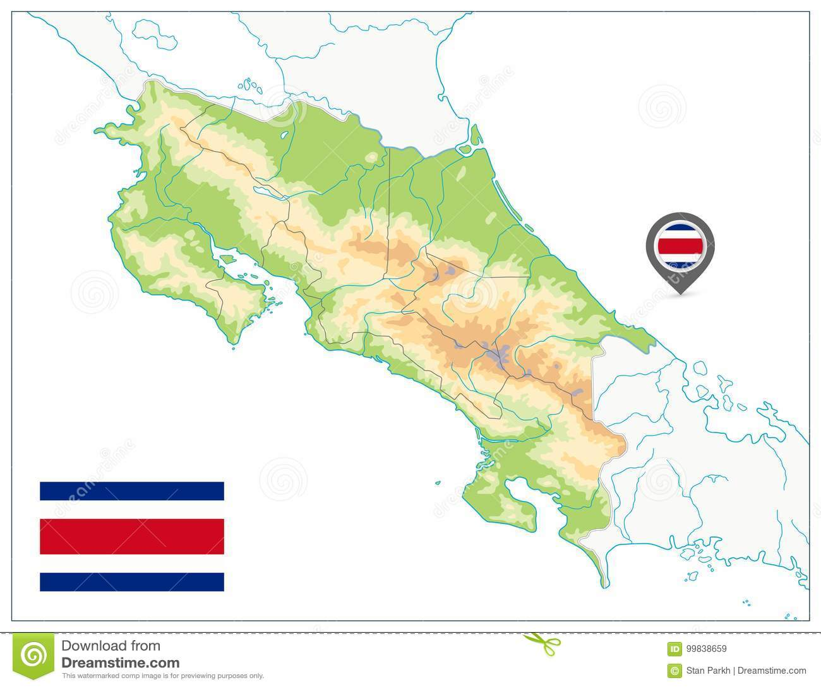 Costa Rica Physical Map Su bianco NESSUN testo
