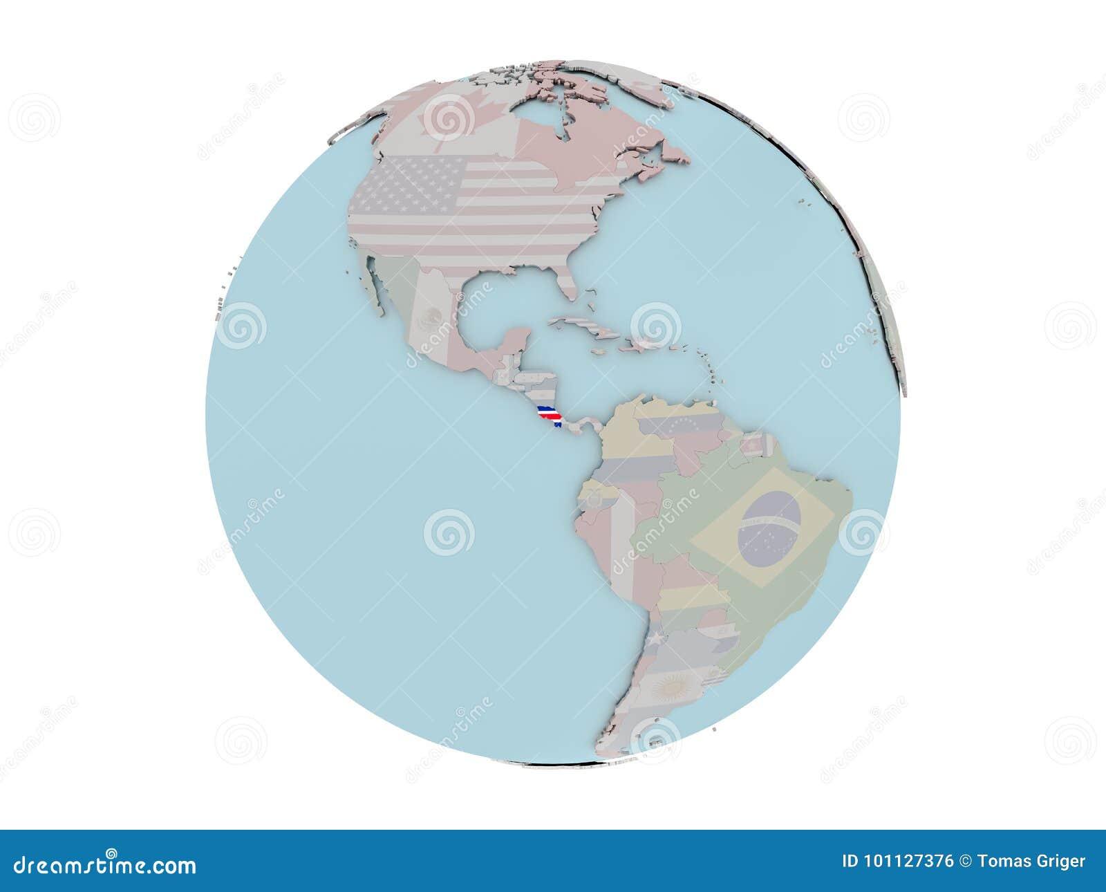 Costa Rica With Flag Globe Stock Illustration Illustration of