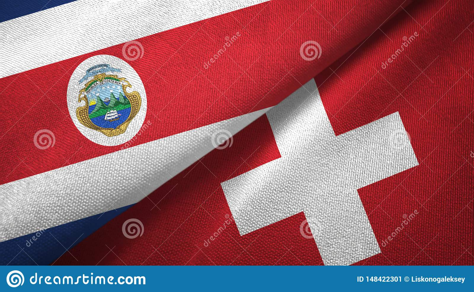 Costa Rica and Switzerland two flags textile cloth, fabric texture