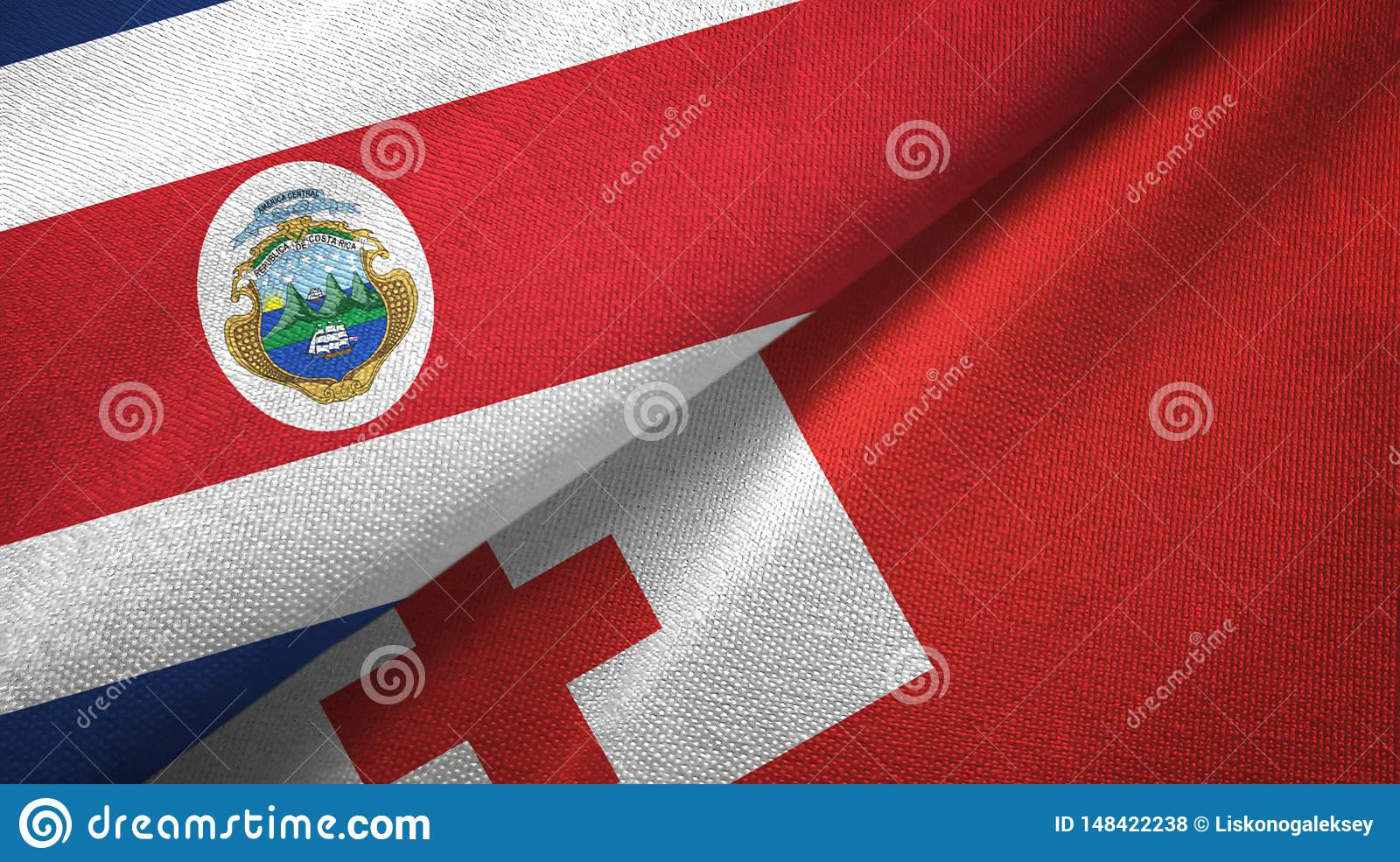 Costa Rica and Tonga two flags textile cloth, fabric texture