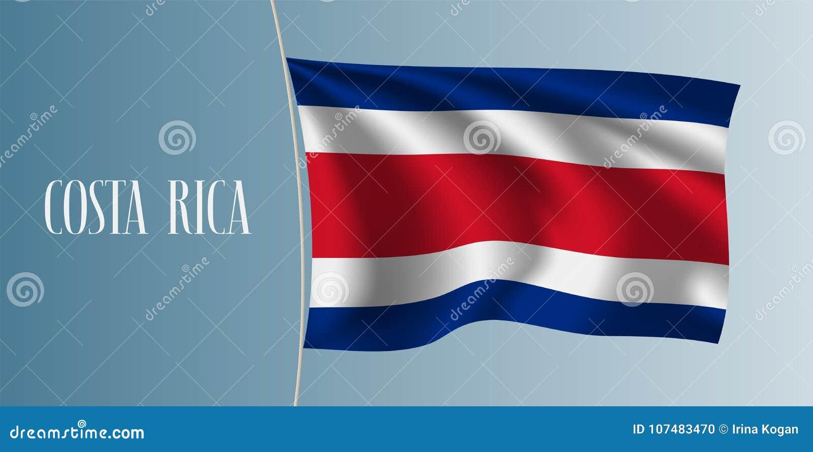 Costa Rica waving flag vector illustration