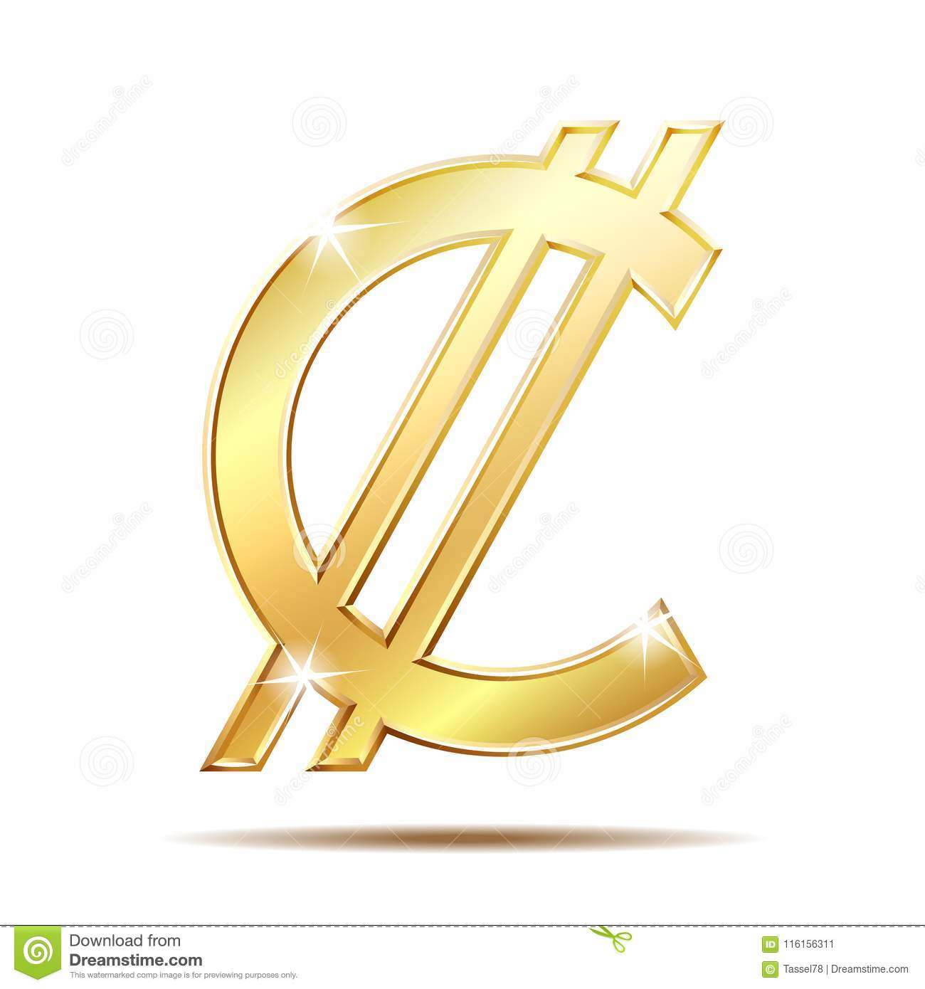 Costa Rican And Salvadoran Colon Currency Symbol Stock Vector
