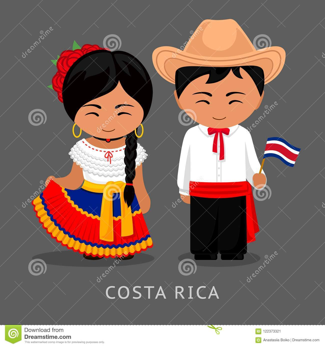 Costa Ricans In National Dress With A Flag Stock Vector