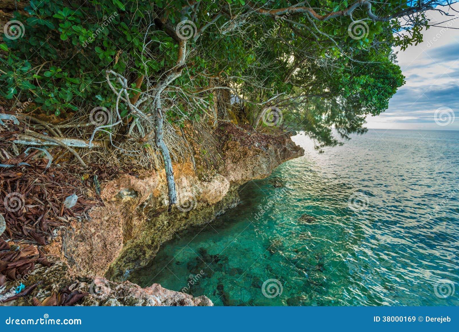 Costa rochosa da ilha da prisão