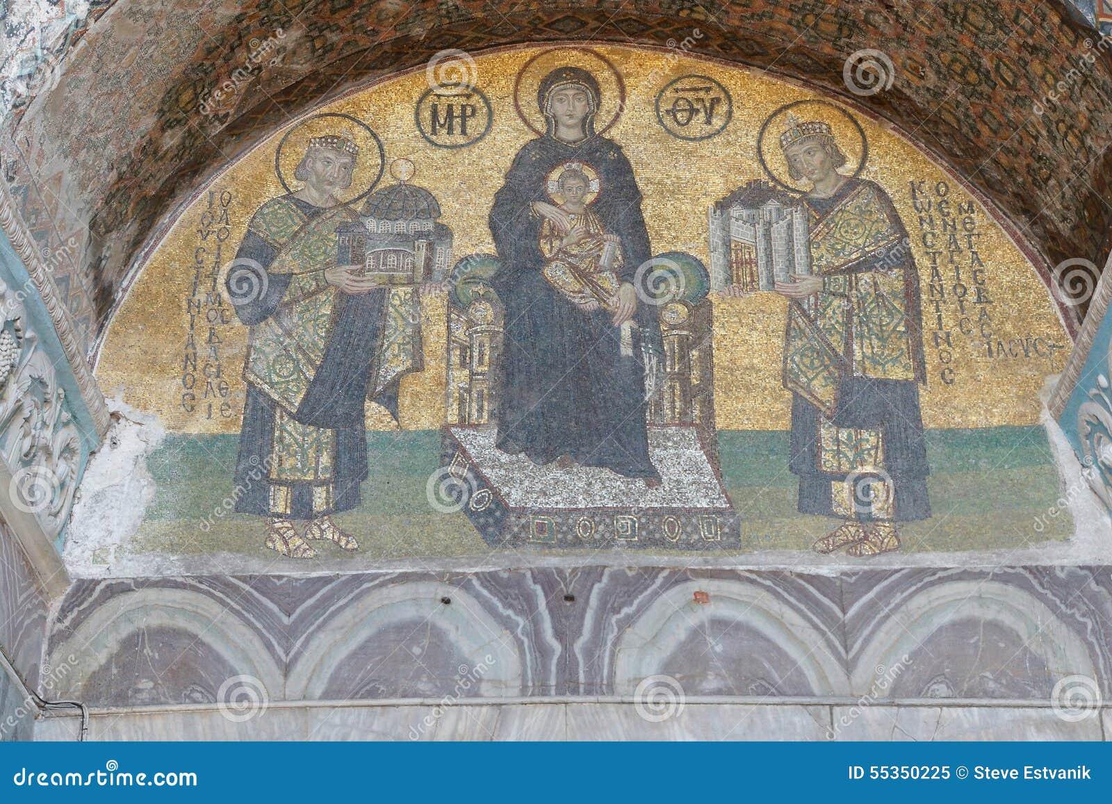 Costantina e Justinian fanno le offerti a vergine Maria