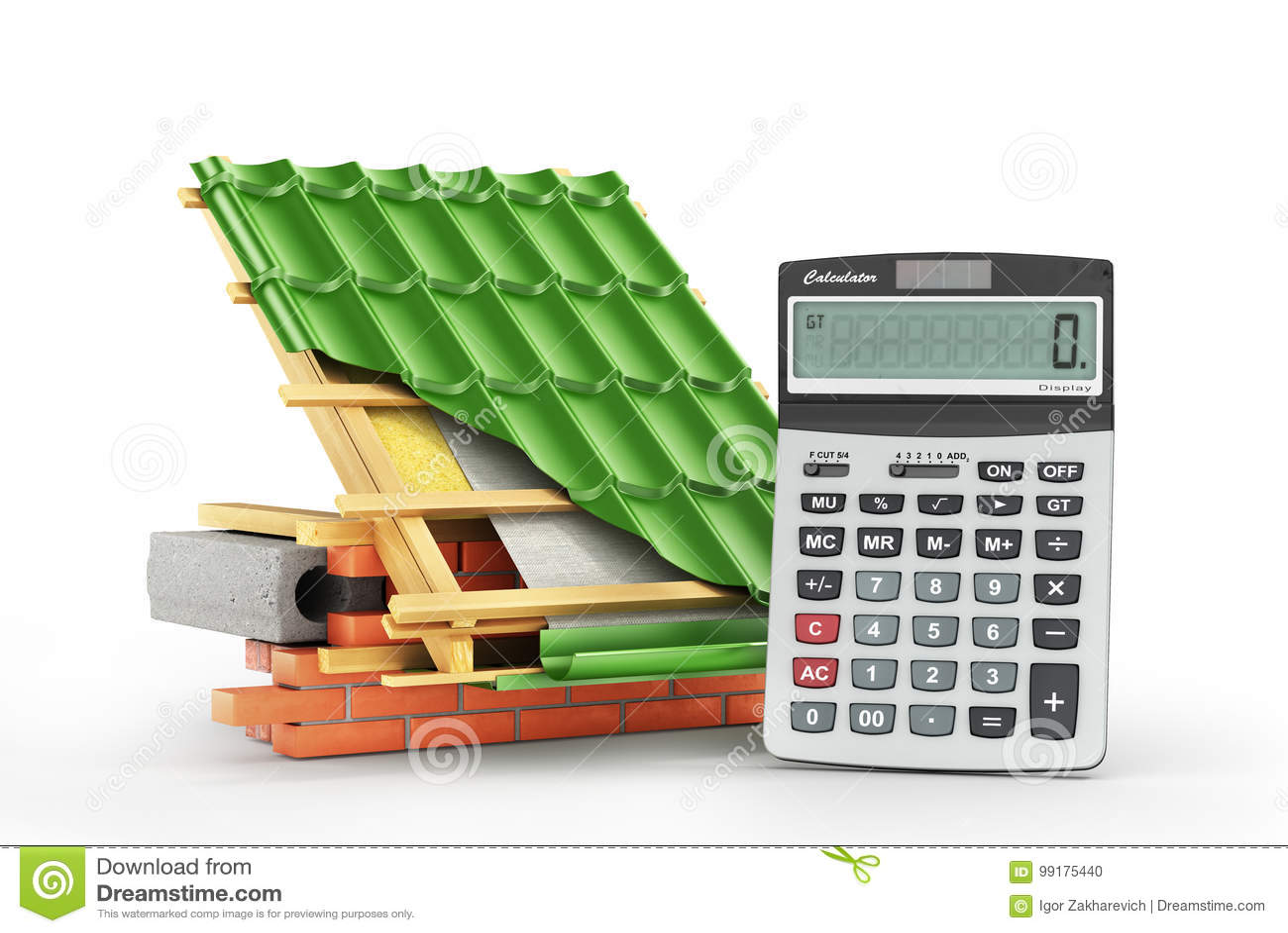 Costes de la instalación del tejado Metal la capa de la teja en el tejado con los detalles técnicos y las capas de construcción c