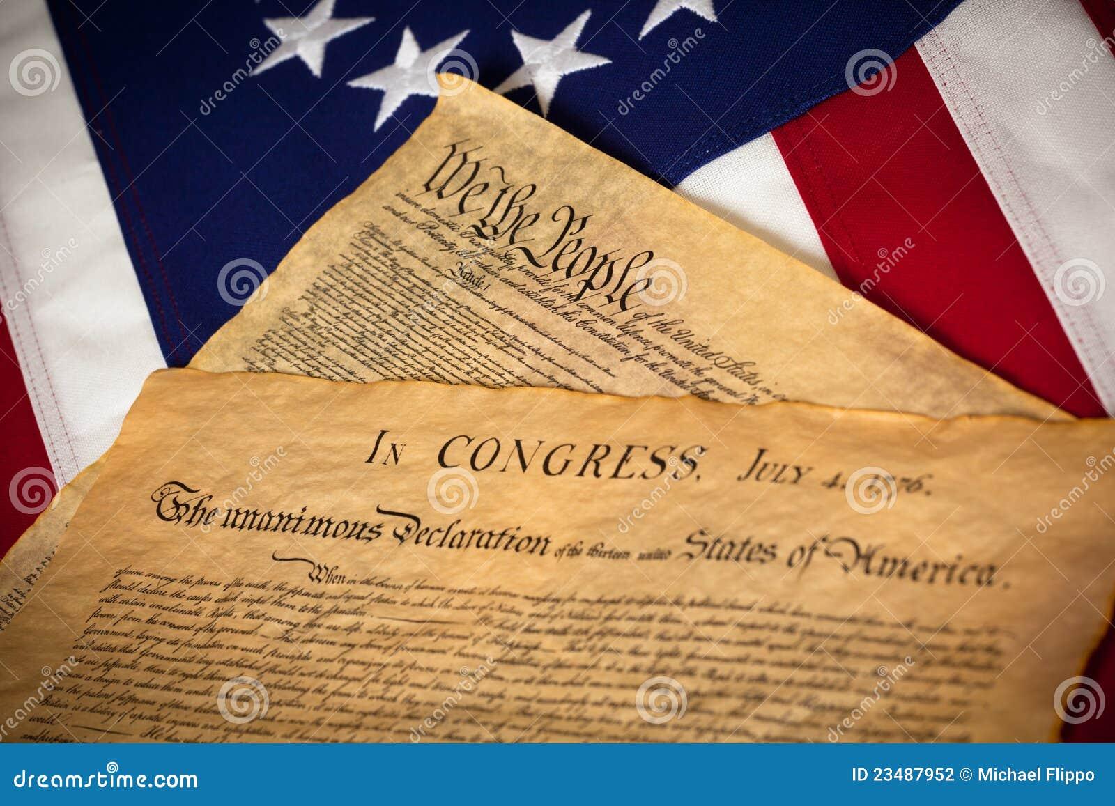 Costituzione & dichiarazione di indipendenza sulla bandierina