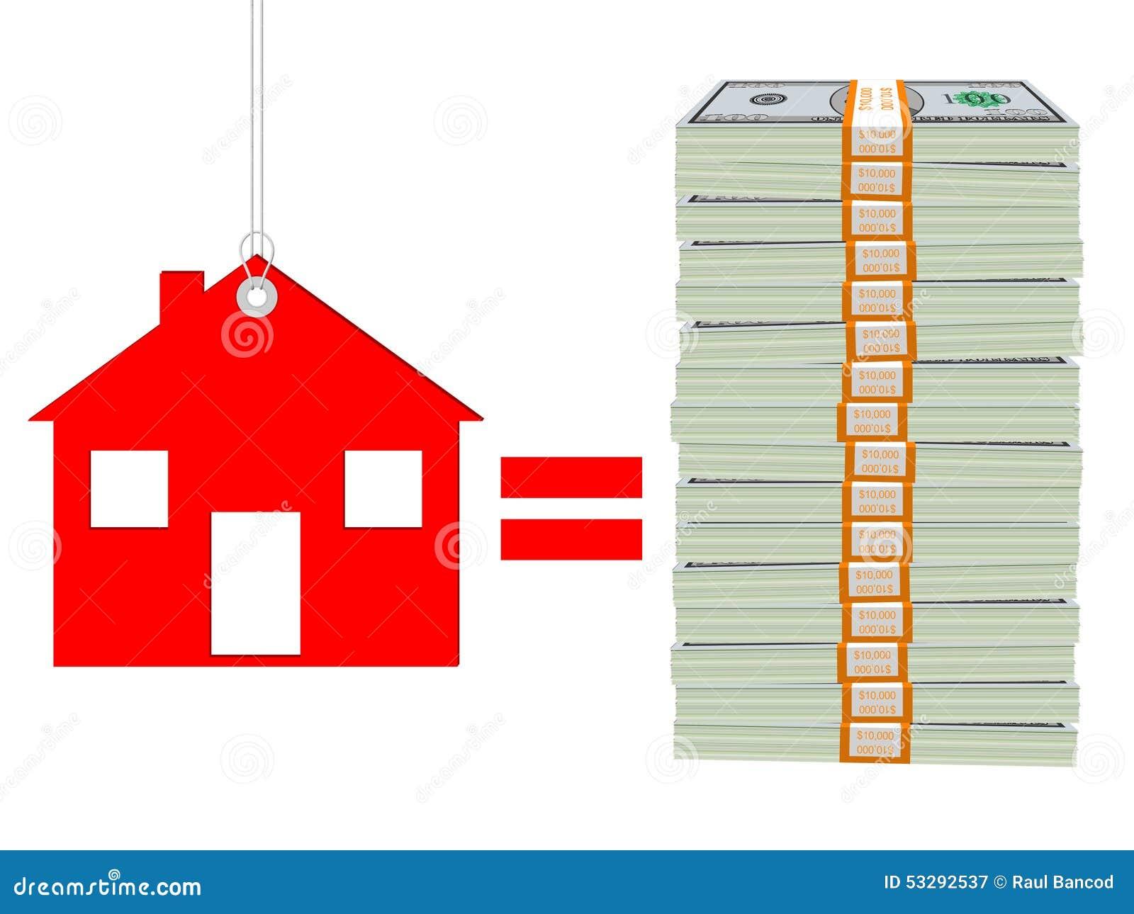 Costo Di Una Casa Isolata Su Fondo Bianco Immagine Stock
