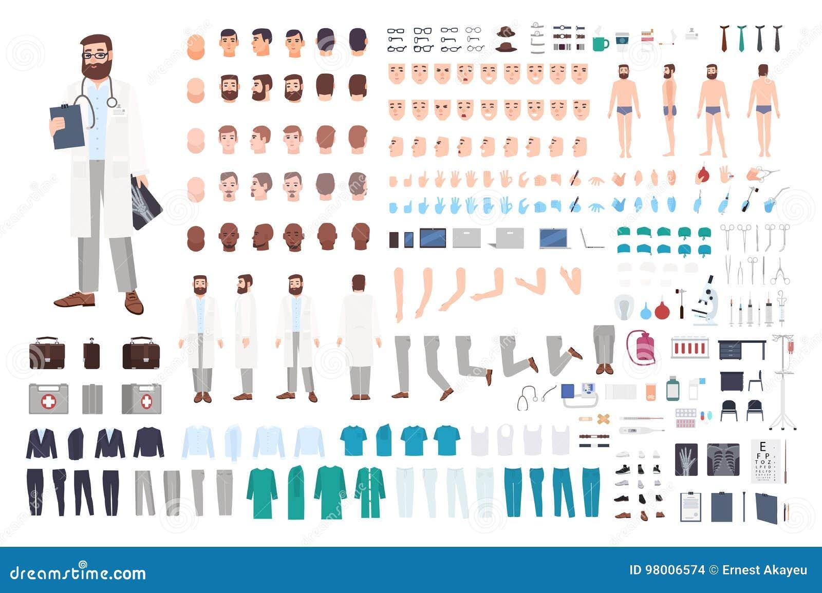 Costruttore del carattere di medico Insieme maschio della creazione di medico Posizioni differenti, acconciatura, fronte, gambe,