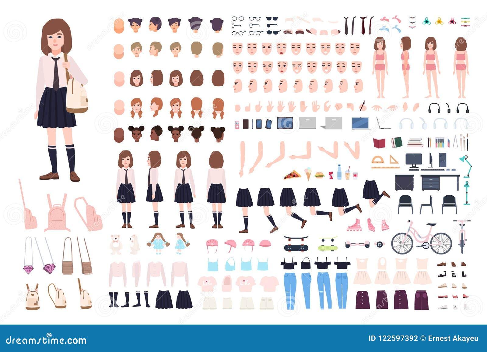 Costruttore della ragazza della scuola o corredo di DIY L insieme di giovani parti del corpo del carattere femminile, espressioni