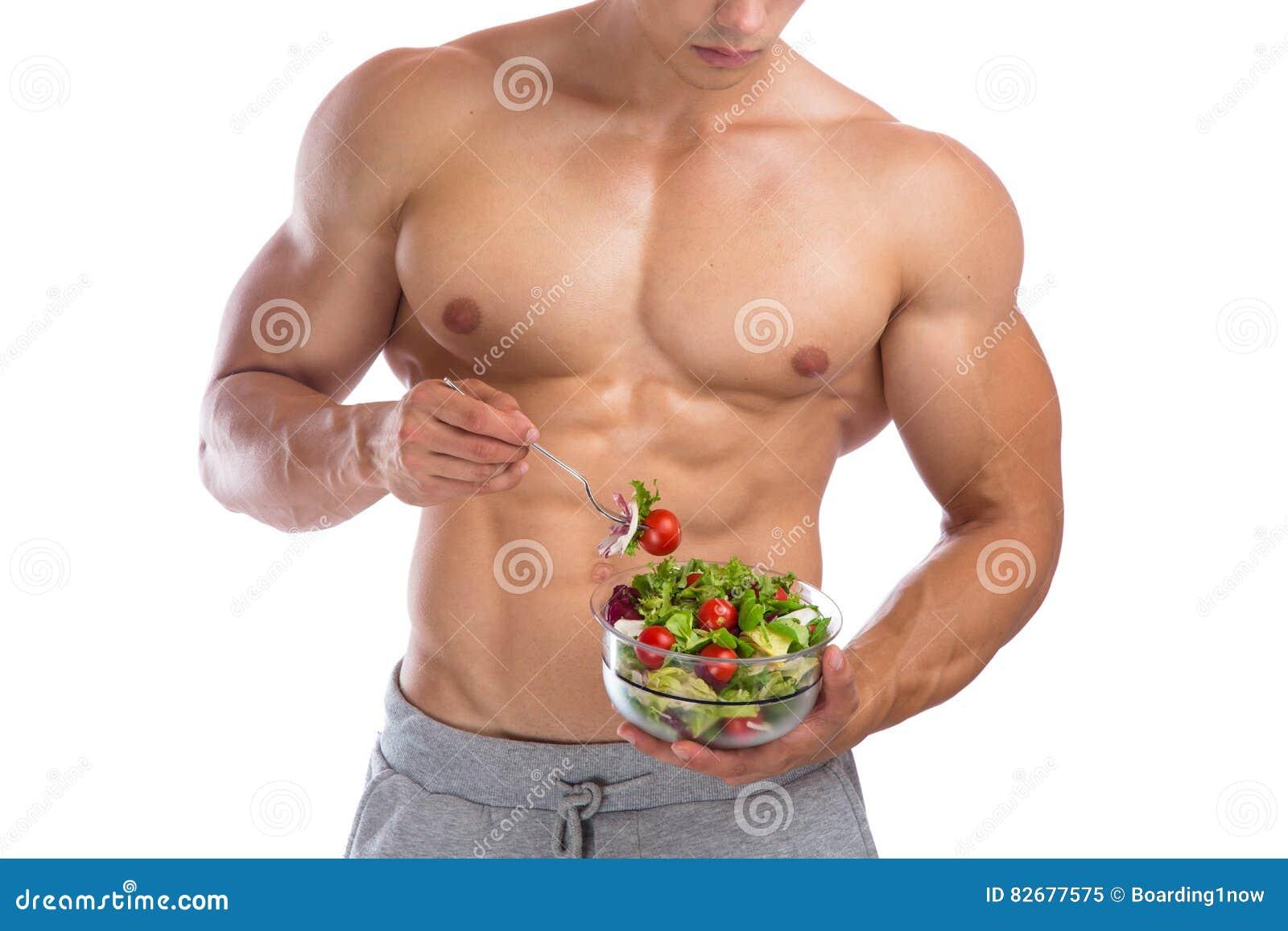 Costruttore di corpo mangiante in buona salute del culturista di culturismo dell insalata dell alimento