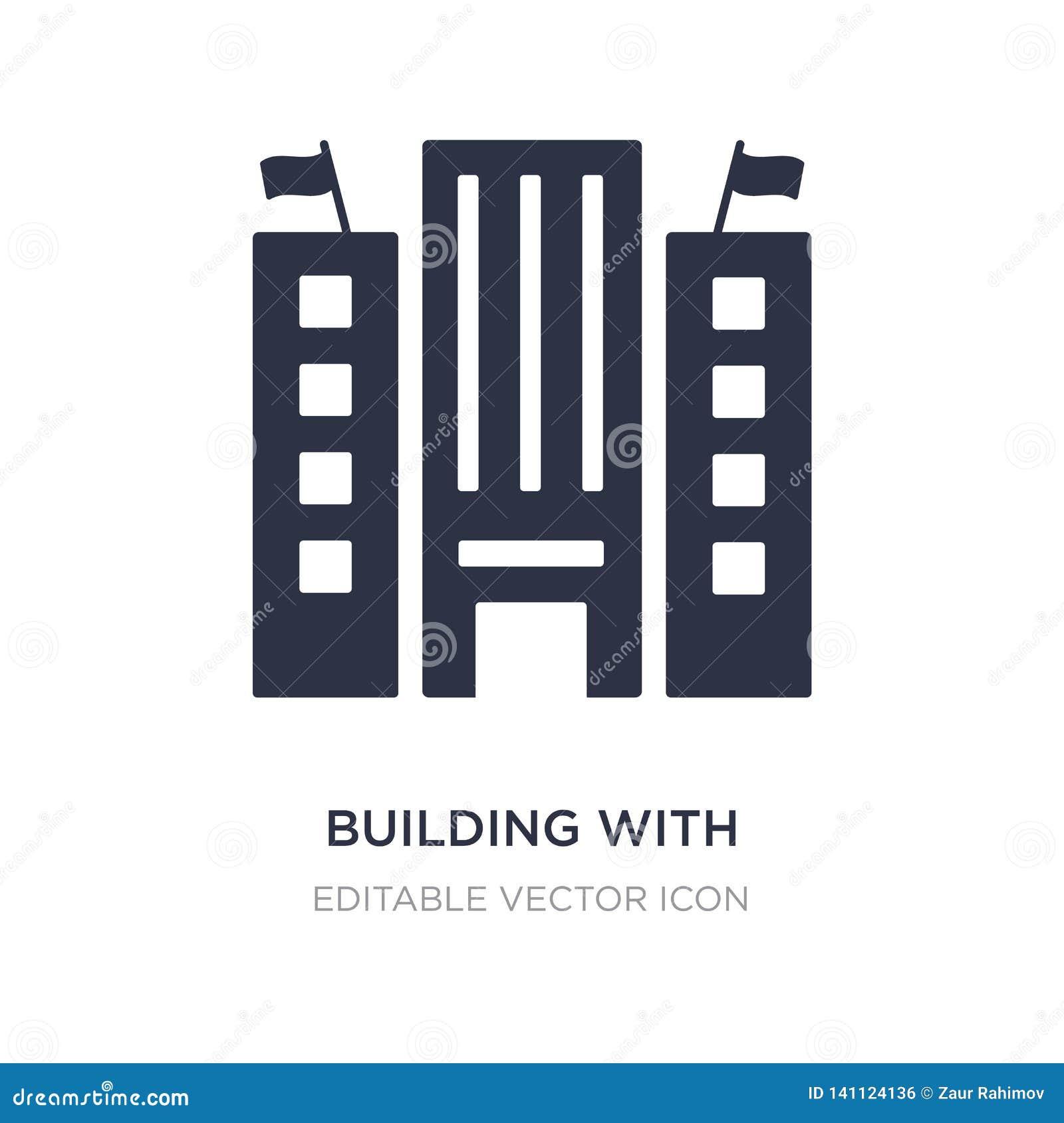 Costruzione con un icona di due bandiere su fondo bianco Illustrazione semplice dell elemento dal concetto delle costruzioni