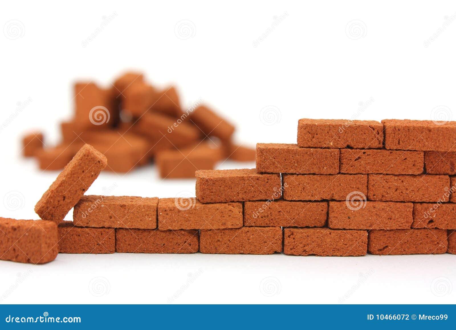 costruzione del muro di mattoni isolata fotografia stock