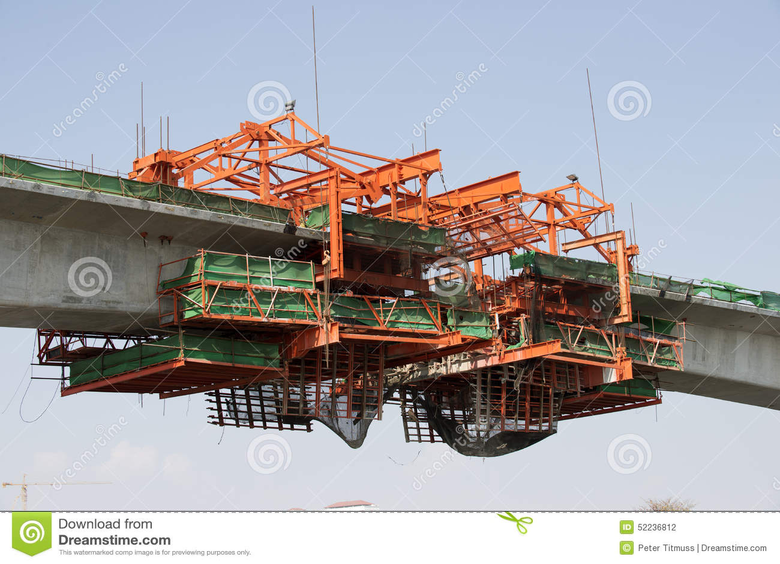 Costruzione del ponte sopra il fiume Chao Phraya Bangkok Thailand