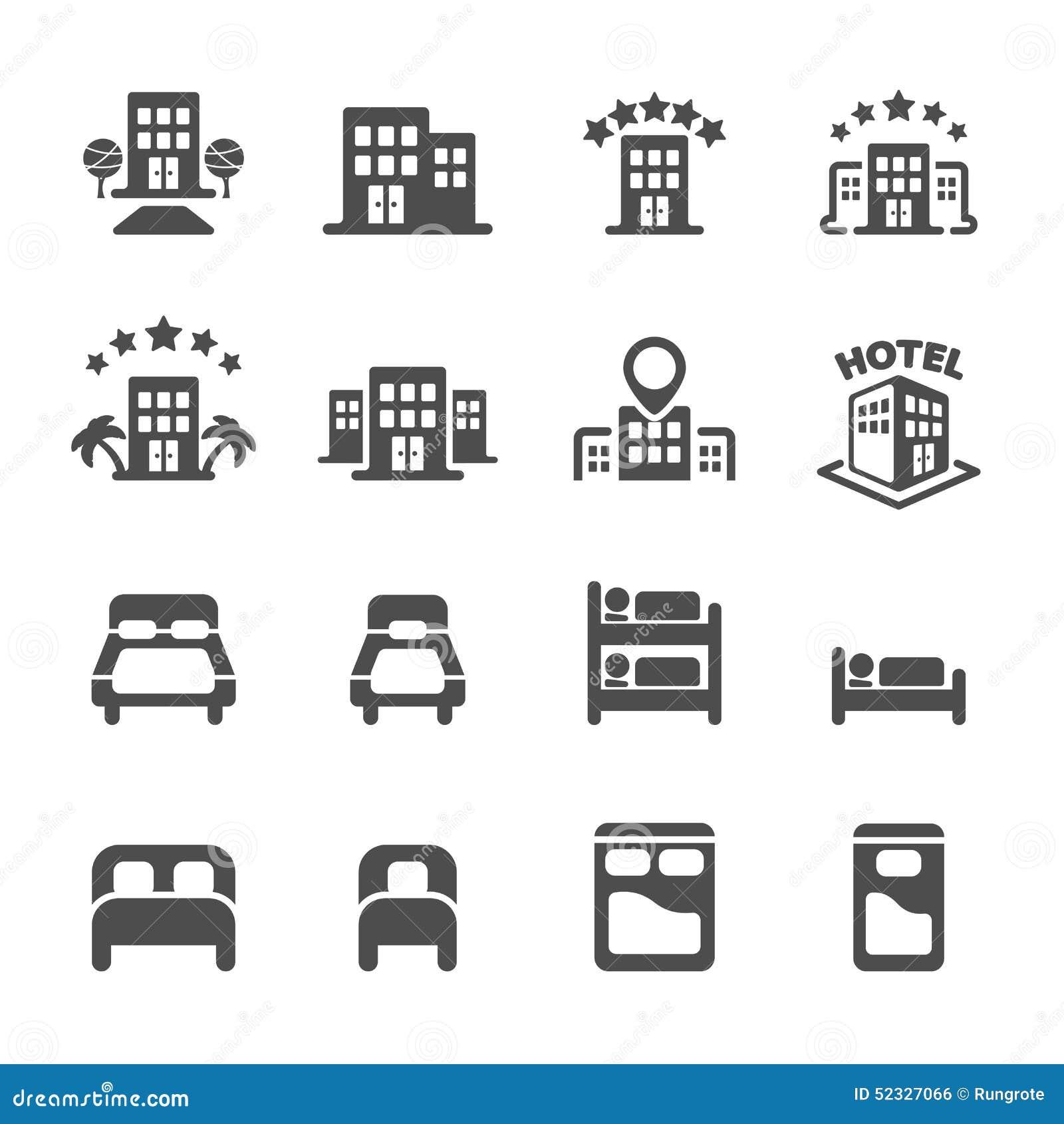 Costruzione dell 39 hotel ed insieme dell 39 icona della camera for Piccoli piani di costruzione dell hotel