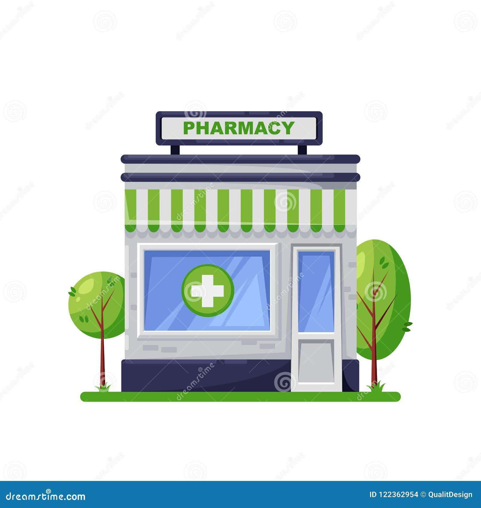 Costruzione della farmacia, isolata su fondo bianco Esterno verde del deposito della farmacia, progettazione dell icona di stile