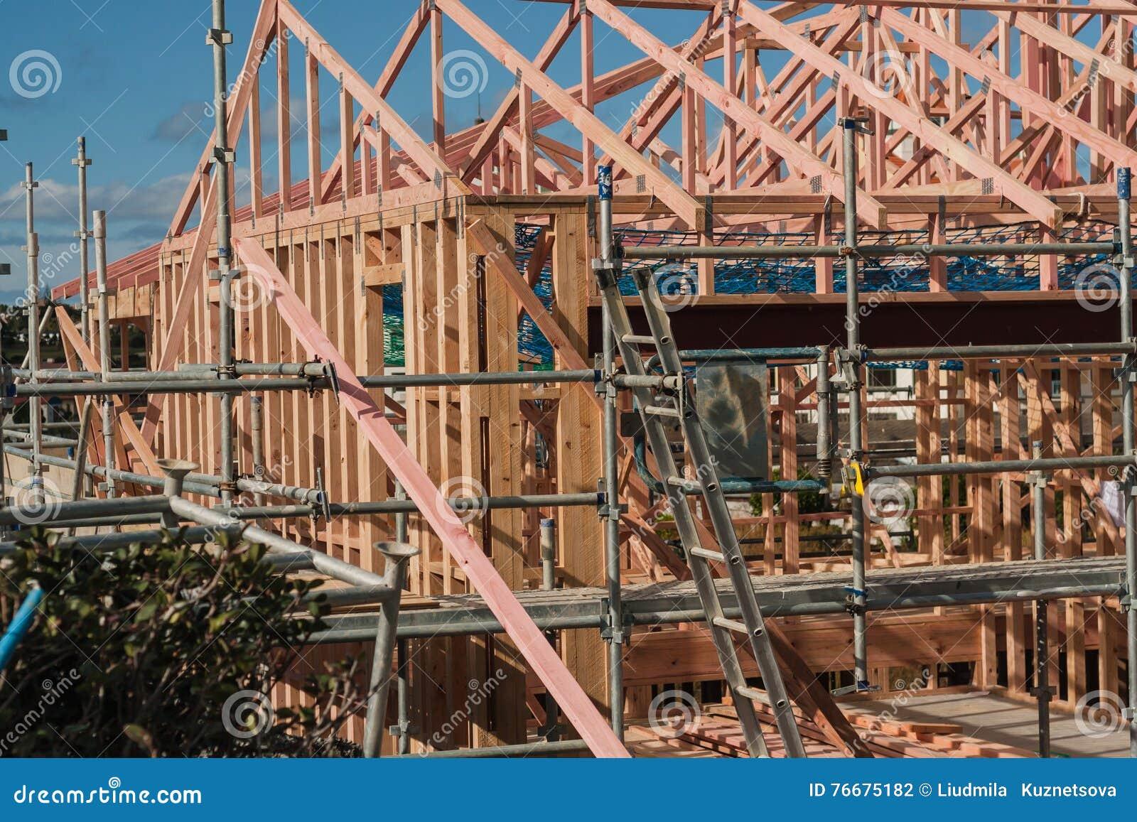 Costruzione di legno delle case private, costruente in Nuova Zelanda