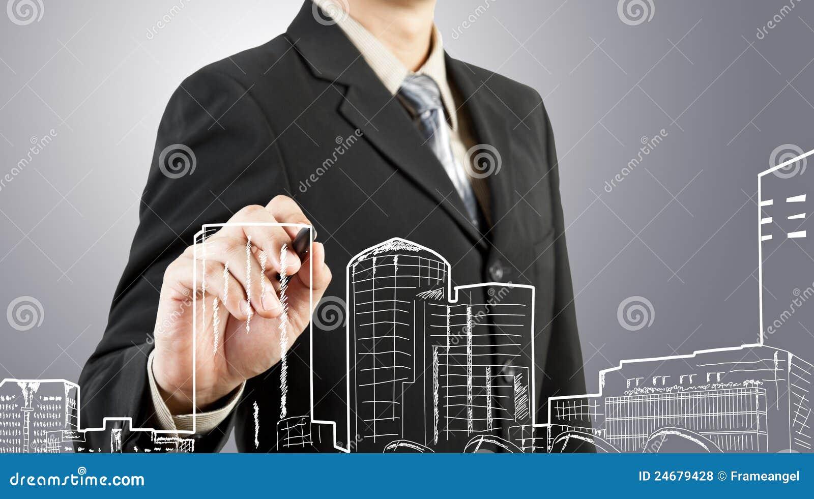 Costruzione e paesaggio urbano di tiraggio dell uomo di affari