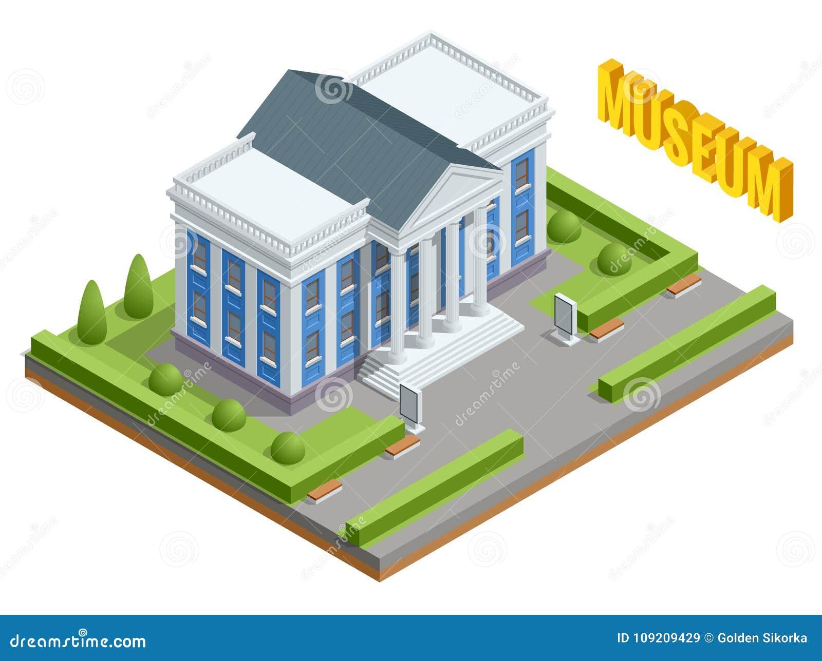 Costruzione pubblica di governo di architettura della città Costruzione isometrica del museo Esterno della costruzione del museo