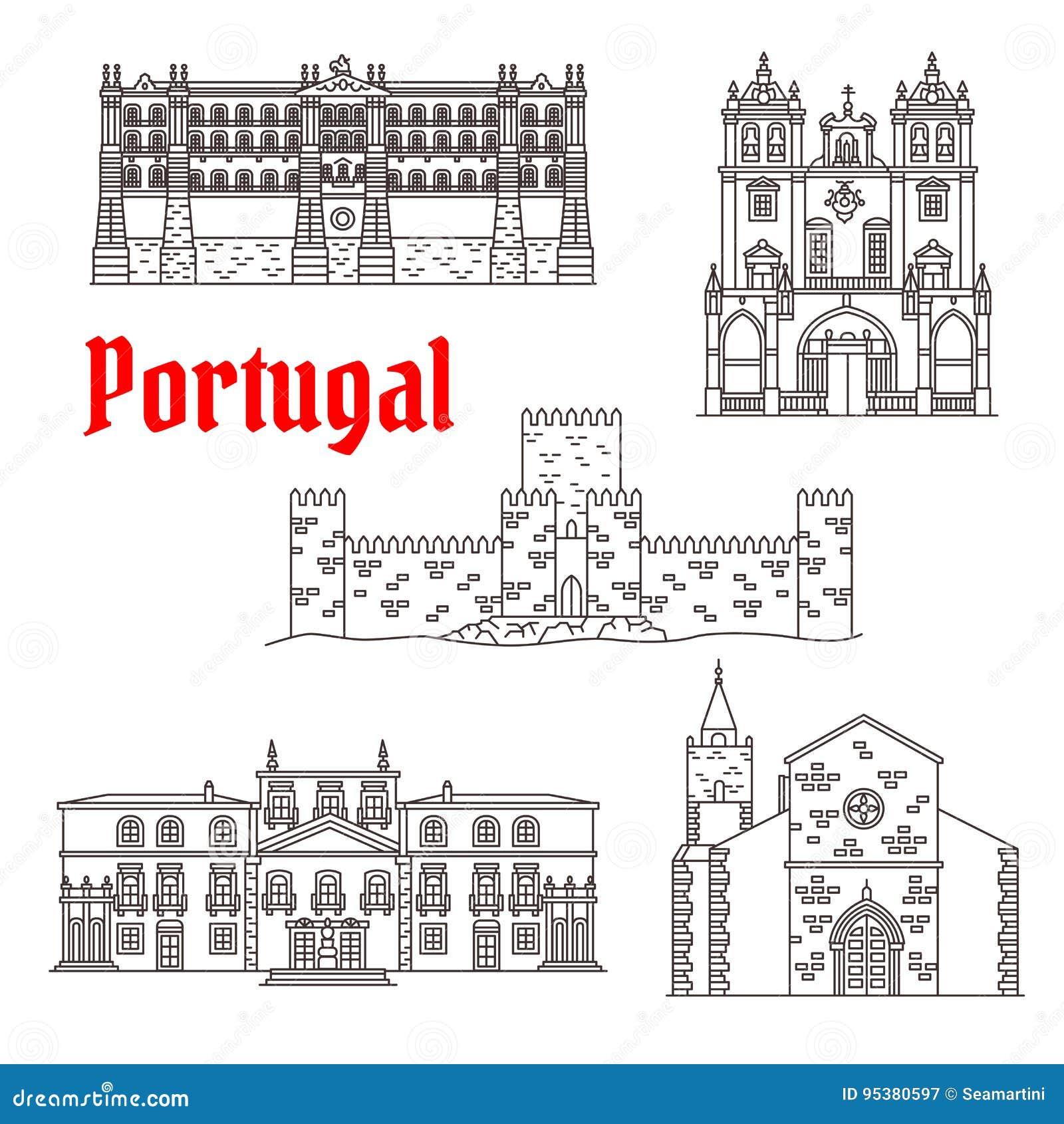 Costruzioni di vettore dei punti di riferimento di architettura del Portogallo