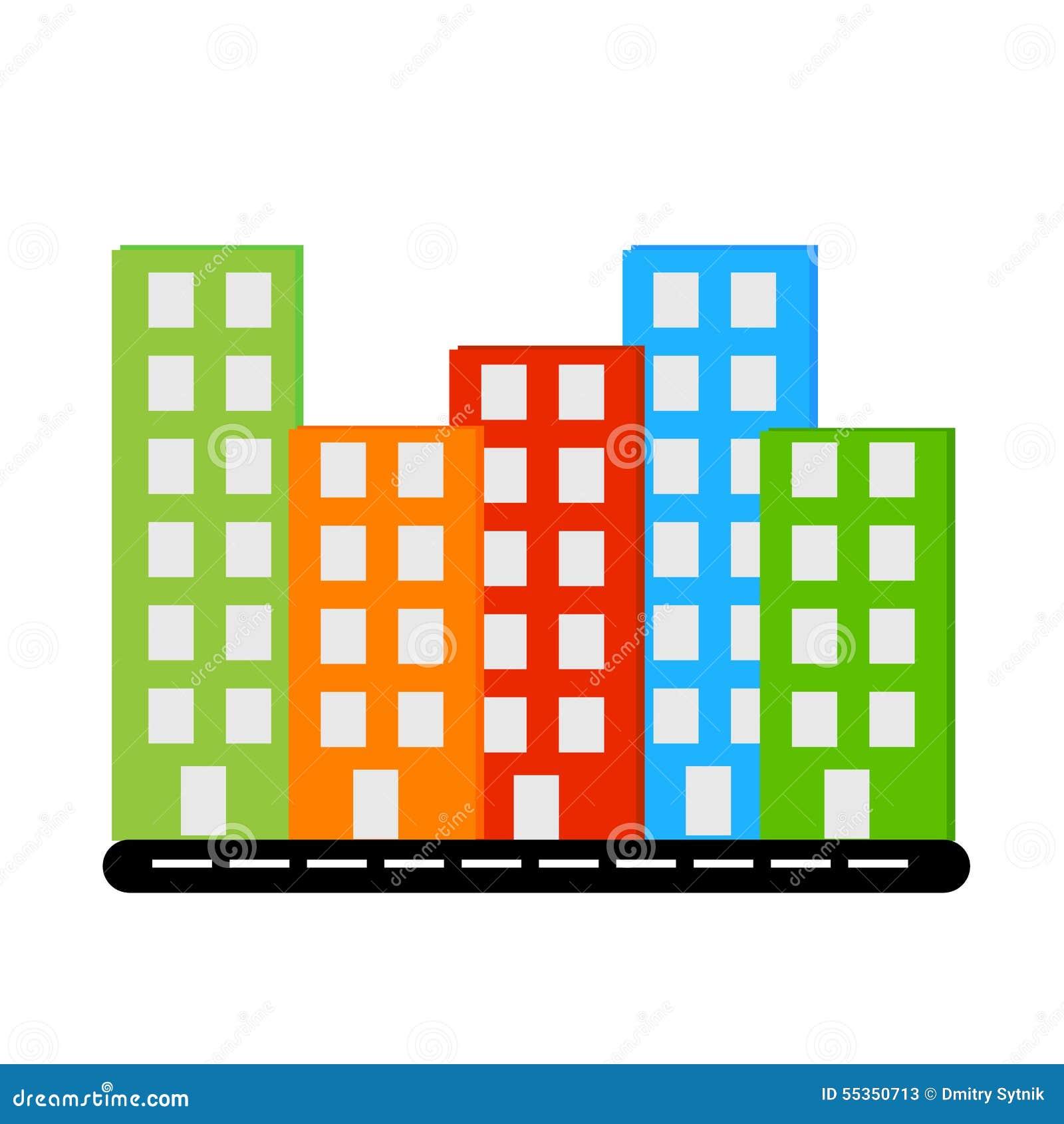 Costruzioni differenti di colori del siluet di Vecor con le finestre sulla strada