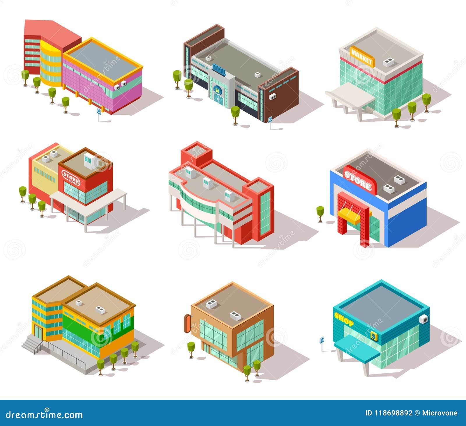 Costruzioni isometriche del centro commerciale, del deposito, del negozio e del supermercato L architettura della città di vettor