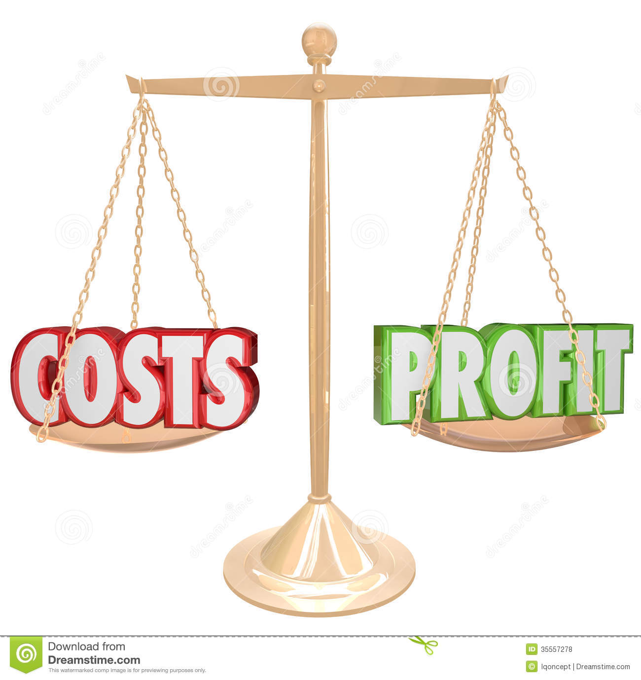 Costs Vs Profit Gold Balance Weighing Words Royalty Free Stock Photos ...