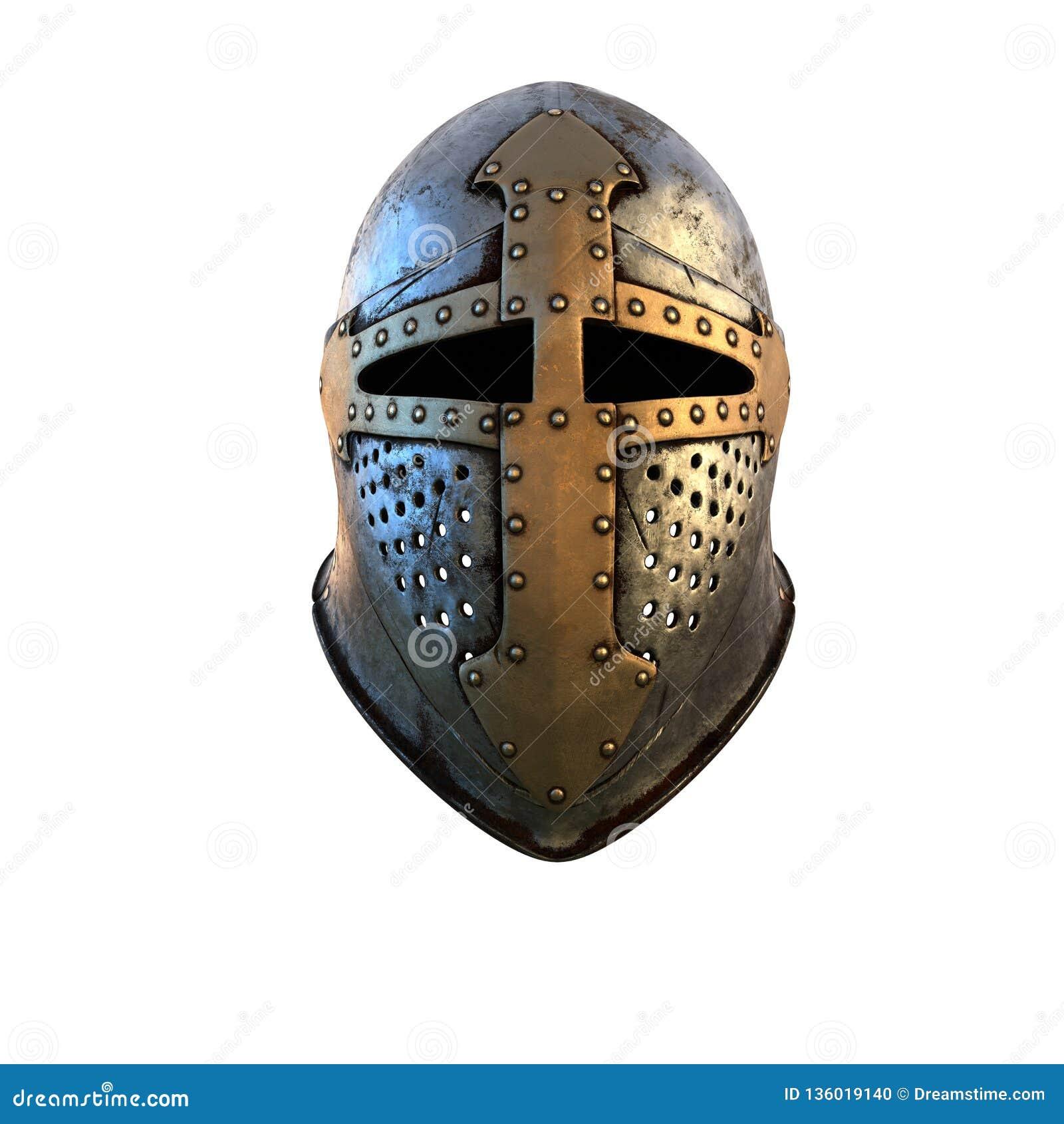 Costume de casque d isolement d armure médiéval sur une illustration blanche du fond 3d
