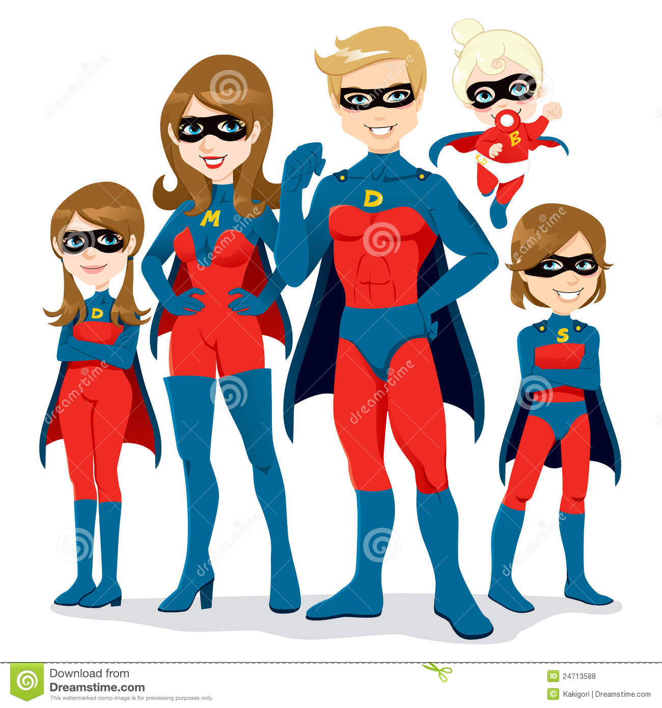 costume de famille de superhero illustration de vecteur image 24713588. Black Bedroom Furniture Sets. Home Design Ideas