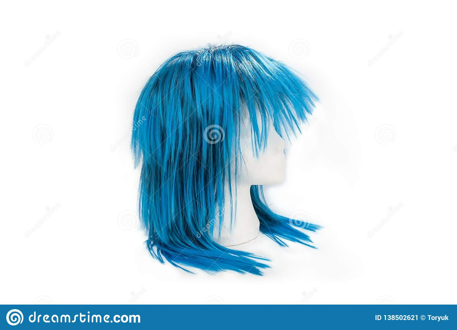 Fashion blue color wig on white background