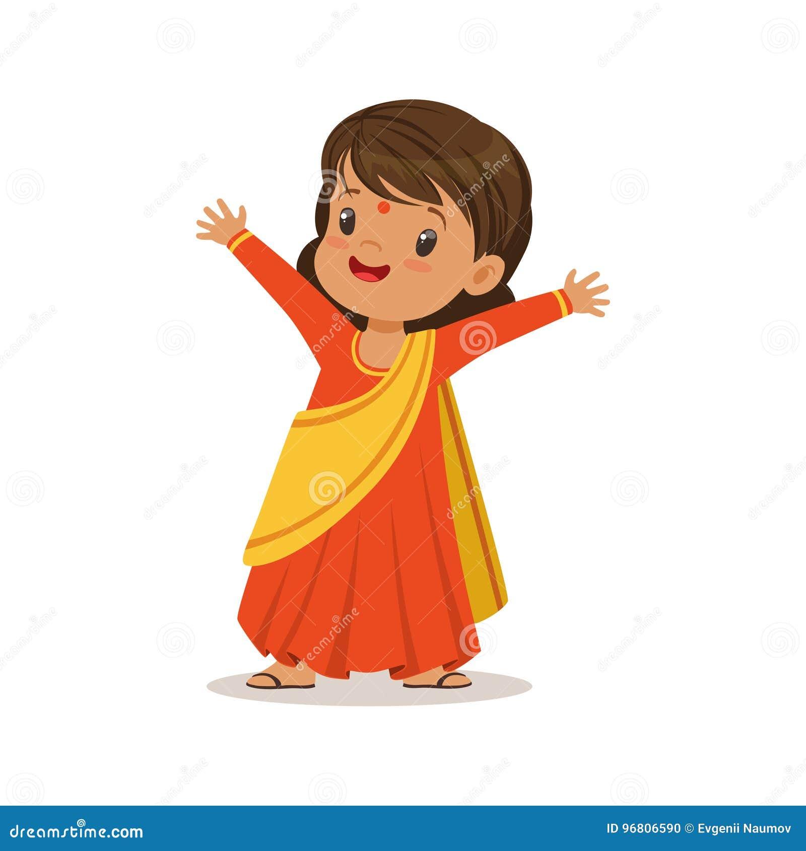 Costume national de port de robe de sari de fille d illustration colorée de vecteur de caractère d Inde