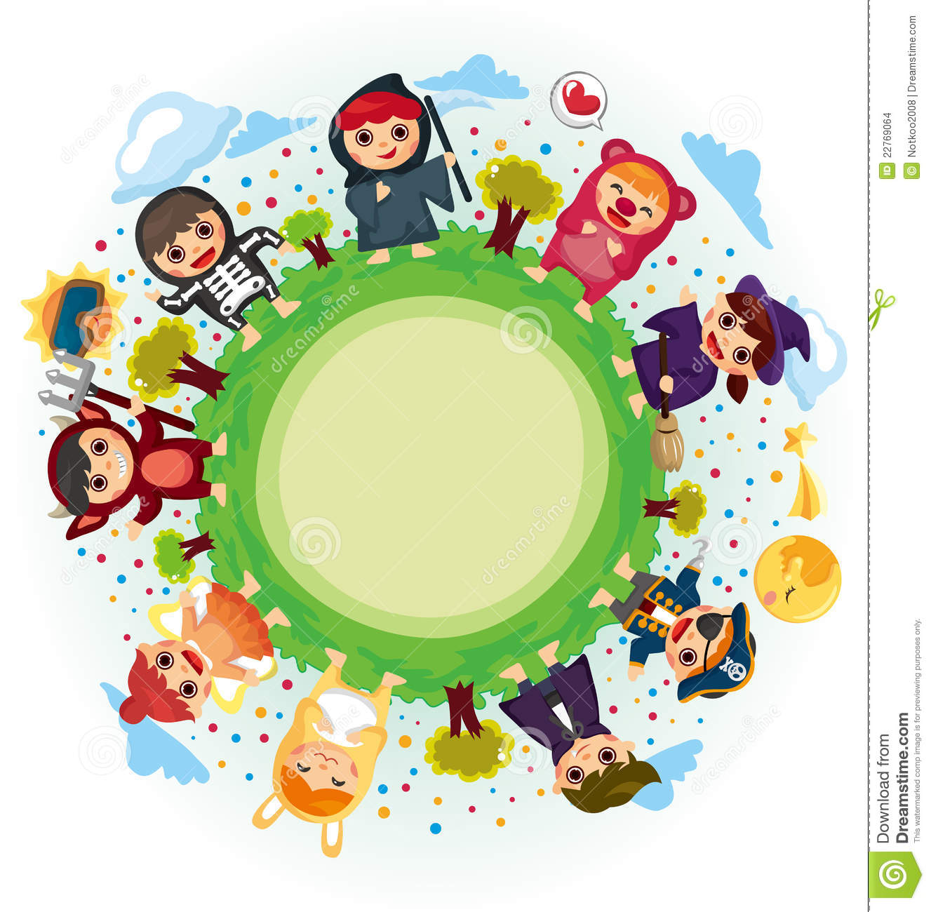Costume Party Around World Stock Vector Illustration Of