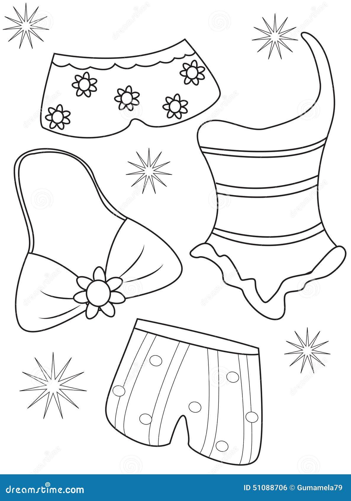 Costumi Da Bagno Che Colorano Pagina Illustrazione di Stock - Immagine ...