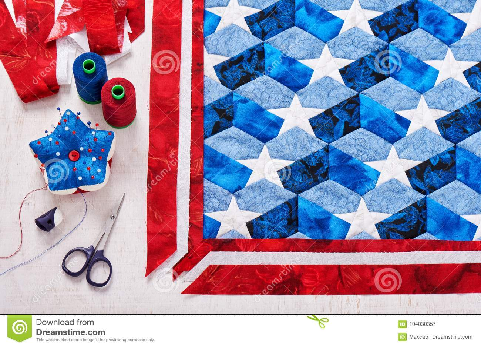 Costura Del Edredón Con Los Elementos Estilizados De La Bandera