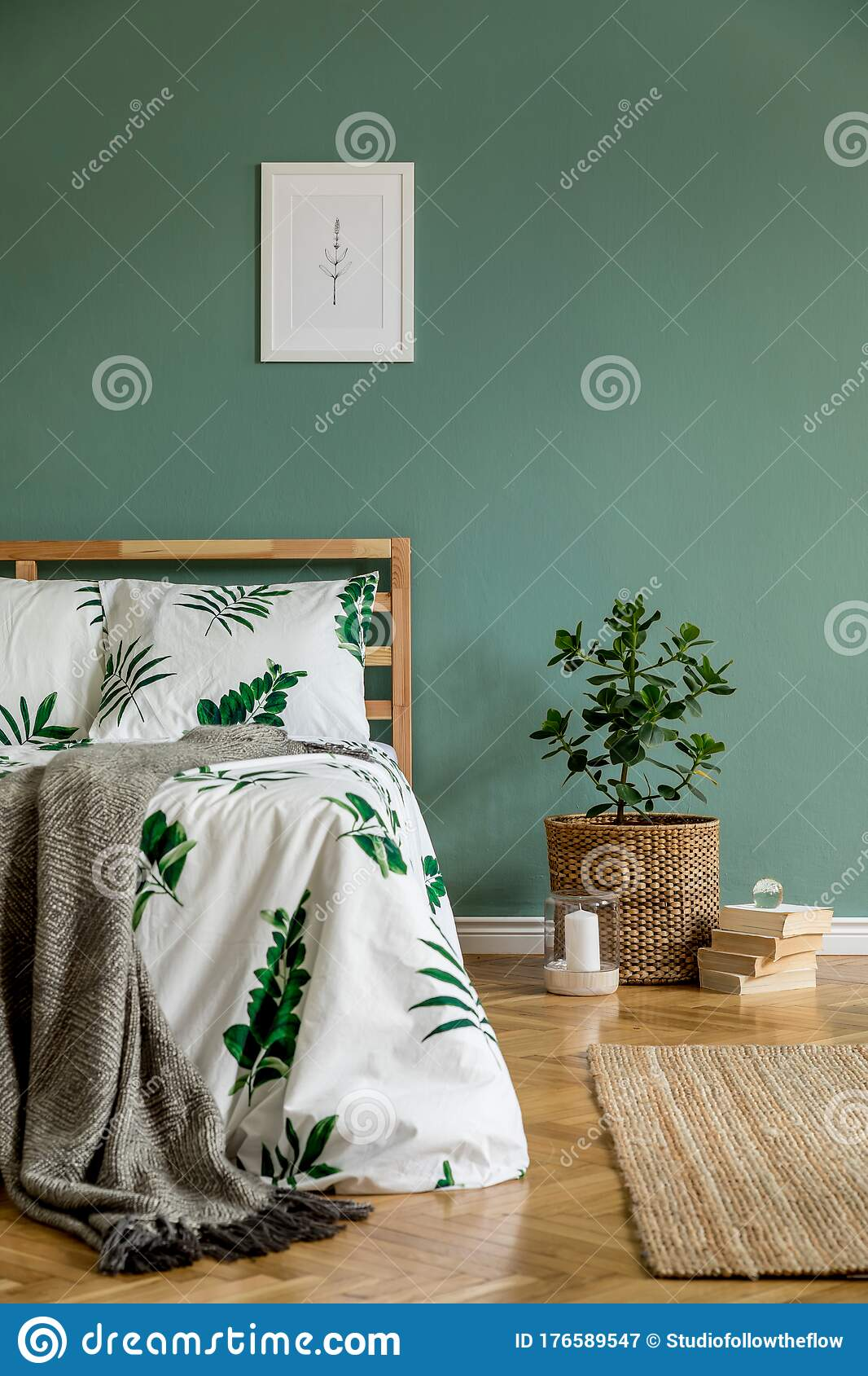 Cosy Bedroom Interior With Natural Boho Accessories Stock Image Image Of Carpet Green 176589547