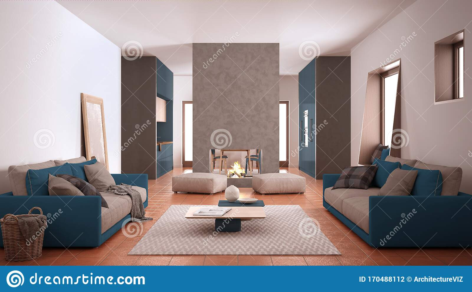 Cosy Blue And Beige Living Room With Sofa Carpet Table And Pouf Concrete Modern Fireplace And Walls Kitchen With Table Stock Illustration Illustration Of Apartment Residential 170488112