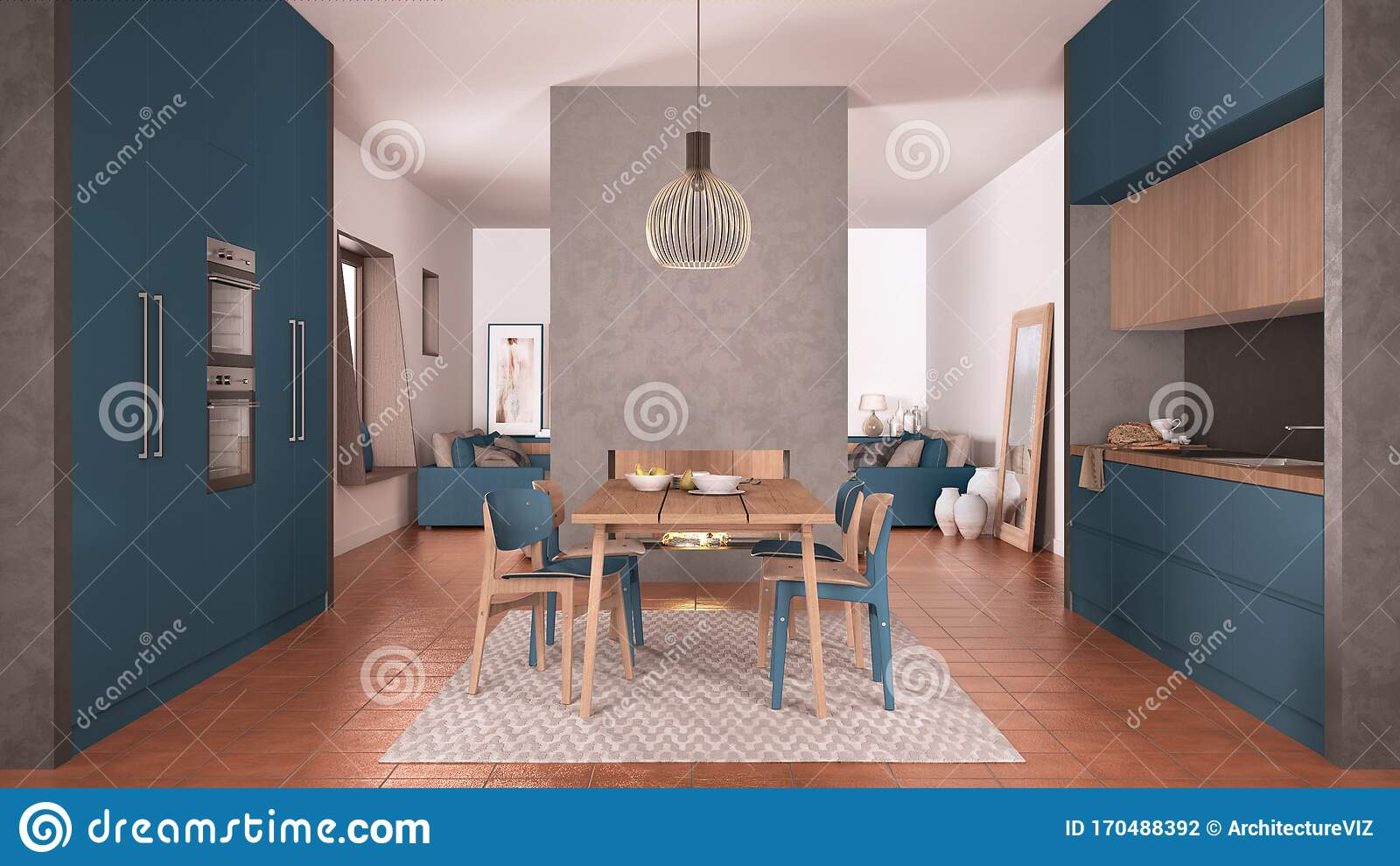 Cosy Blue And Wooden Kitchen With Dining Table And Chairs Concrete Modern Fireplace And Walls Living Room With Sofa Terracotta Stock Illustration Illustration Of Floor Home 170488392