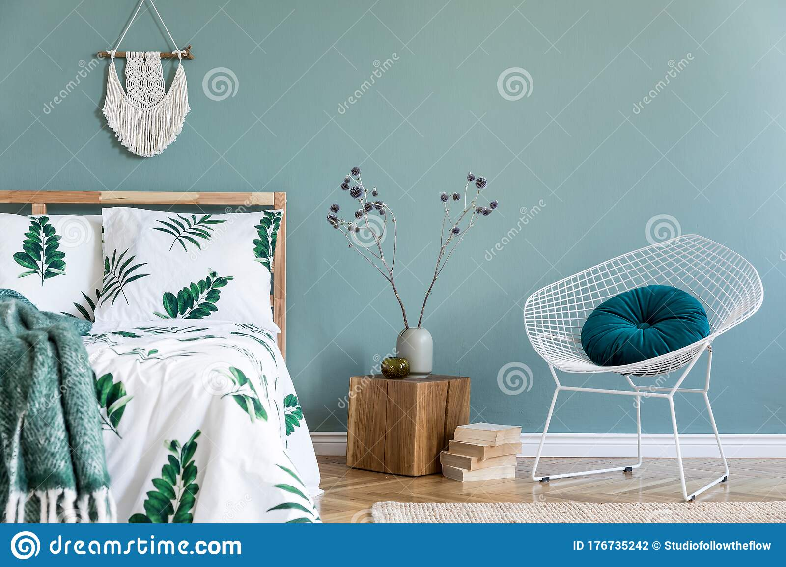 Cosy Boho Bedroom Interior With Wooden Bed And White Armchair Stock Photo Image Of Bohemian Concept 176735242