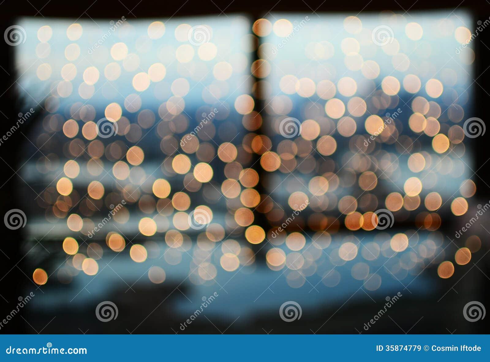 Cosy Bookeh Christmas Lights On Window Stock Image Image